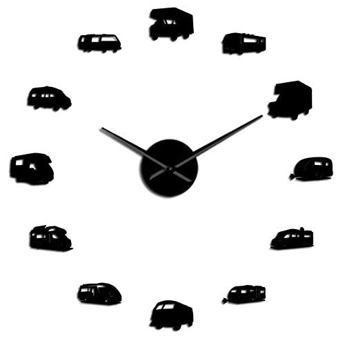 Camper Bus Autocaravana Decoración para el hogar RV Camping DIY Reloj de Pared Gigante Remolque de Viaje Transporte Vehículos recreativos Reloj de Pared-Black_37_Inch