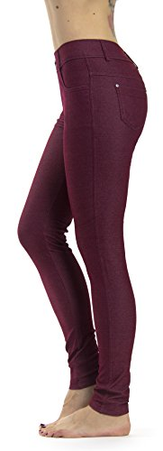 Prolific Health Women's Jean Look Jeggings Tights Slimming Many Colors Spandex Leggings Pants S-XXXL (Medium, Burgundy)