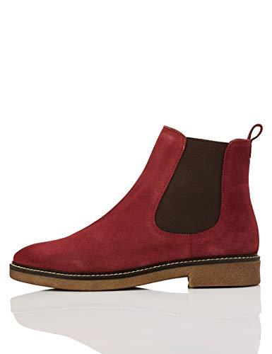 Marca Amazon - find. Leather Gumsole Botas Chelsea, Rojo Wine, 37 EU