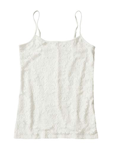 Ann Taylor LOFT Outlet Women's Lace Overlay Camisole (Medium, Ivory)