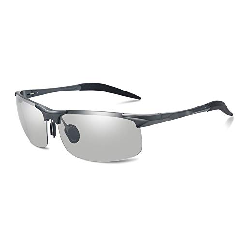 XiaoDong1 UV400 Gafas de sol polarizadas de color gris para hombre Gafas de sol de equitación de pesca día y noche