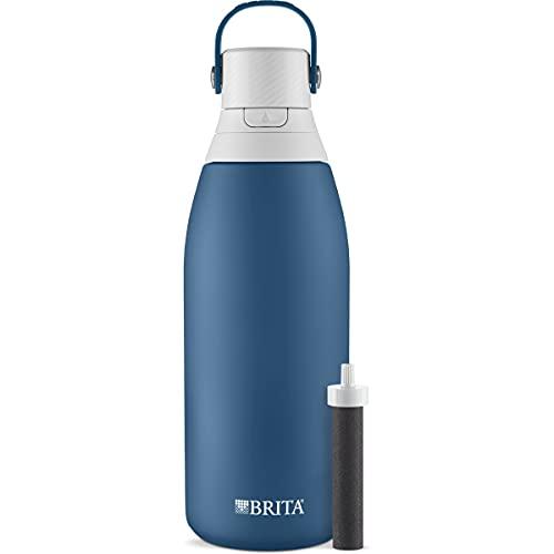 Brita Botella de filtro de agua de acero inoxidable, 32 onzas, Marina
