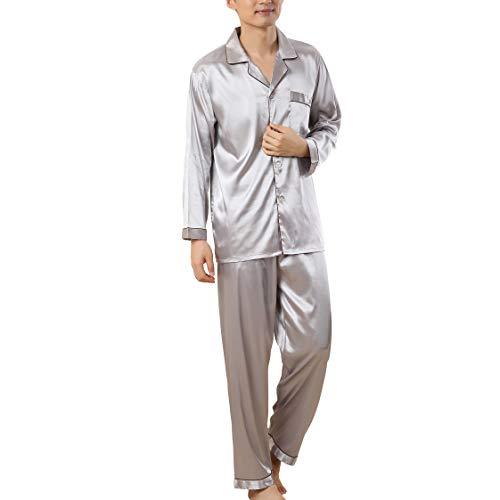 Rojeam Pijamas de satén de Seda para Hombres Ropa de Dormir