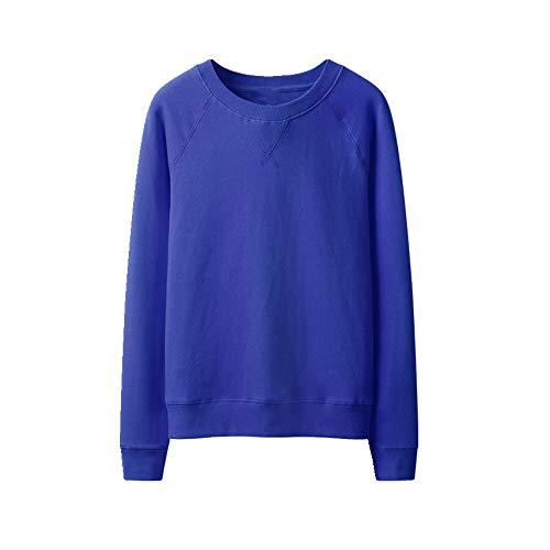 Suéter de algodón puro para mujer de primavera y otoño, suelto, con capucha, cuello redondo, casual Azul azul XXX-Large