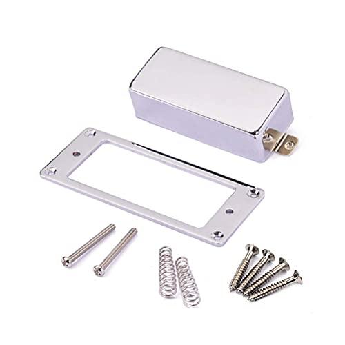LIXBD 1 Set Gitarren-Humbucker-Tonabnehmer Abdeckrahmen Grundplatte Hals und Steg Montagering für LP E-Gitarre Teile (Silber)
