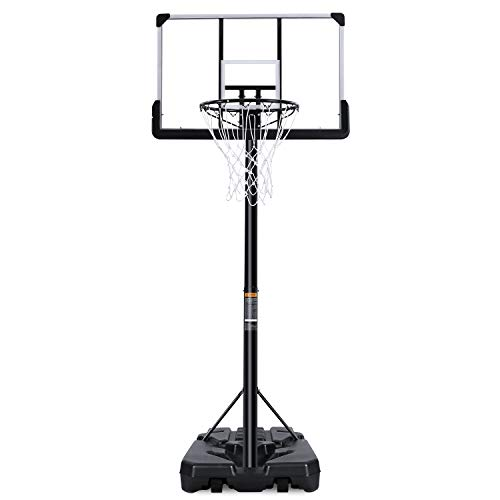 MaxKare Portable Basketball Hoop & Goal Basketball System Basketball Equipment Height Adjustable 7ft 6in-10ft with 44 Inch Backboard and Wheels for Youth Kids Indoor Outdoor Use