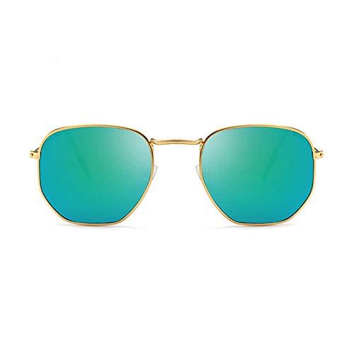 DLSM Gafas de Sol Metal pequeño Marco Mujer Gafas de Sol clásico Cuadrado Vendimia Rosa océano Lente Moda Colorido Mercurio Espejo Sol Vidrio conducción-Verde de Oro