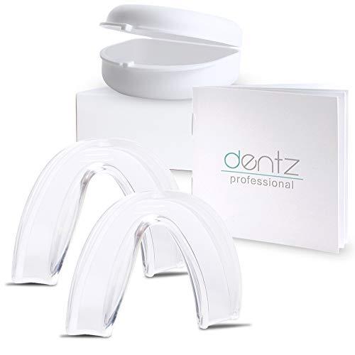 Dentz Professional Aufbissschiene (2 Stk) inkl. Aufbewahrungsbox, BPA frei, Zahnschutz beim nächtlichen Zähneknirschen, Knirscherschiene, Zahnschiene, Mouthguard - 100% ige Zufriedenheitsgarantie,L/XL