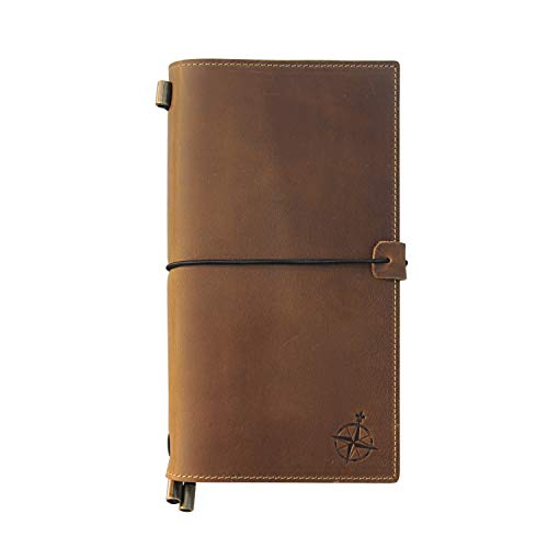 """Leather Travel Journal with Pockets - Wanderings Refillable Notebook Organizer, Hand-Crafted Genuine Leather Notebook with Pockets for Writing, Travelers, Organizing - Blank Inserts, 8.5x4.5"""""""