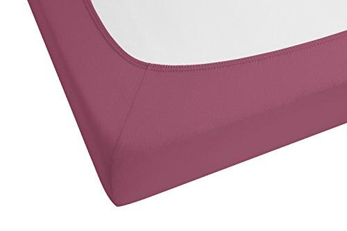 biberna 77144 Jersey-Stretch Spannbetttuch, nach Öko-Tex Standard 100, ca. 140 x 200 cm bis 160 x 200 cm, brombeere - 2
