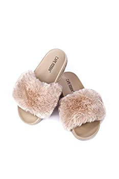 Cape Robbin Boo Furry Faux Fur Slides Slippers for Women Fluffy Slippers - Nude Size 7