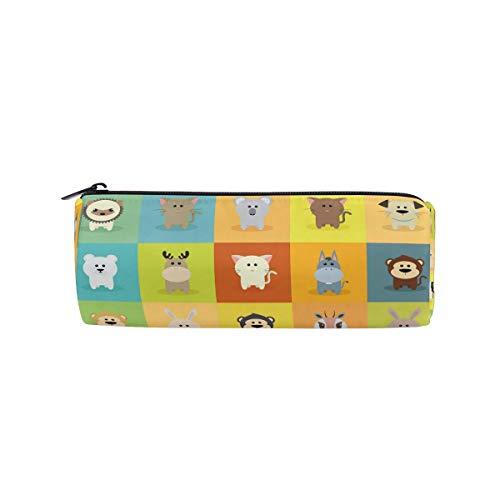 Funnyy - Estuche para lápices con diseño de iconos de animales, bolsa con forma de cilindro para niños, niñas y colegios