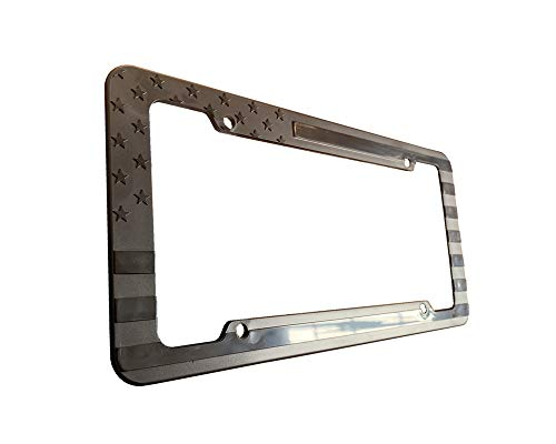 USA Flag License Plate Frame Embossed 3D Black American Stars and Strips for Car SUV Truck