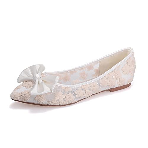Zapatos Bailarinas Planos para Mujer Punta Puntiaguda Bowknot Cordón de satén Planos...