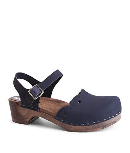 Sandgrens Swedish Wooden Low Heel Clog Sandals for Women, US 8-8.5   Milan Navy DK, EU 39