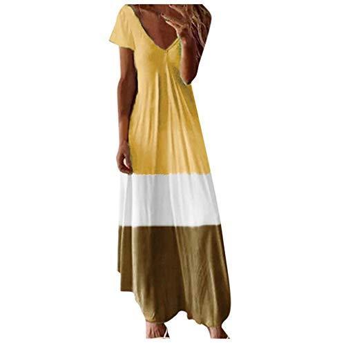 Tomatoa Damen Sommerkleid Kurzarm Maxikleid Strandkleid Frauen Kleider Elegant Partykleid Rundhals Vintage Große Größe Lang Kleider S - 5XL