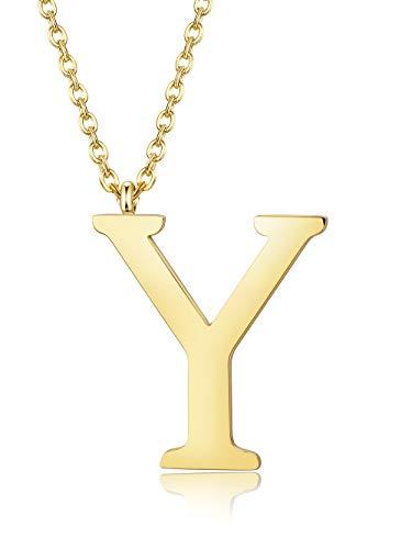 Besteel A-Z Carta Inicial Collar con Letra para Mujer Hombres Acero Inoxidable Collar Colgante, Plata/Oro/Negro, Largo 56 cm
