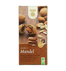 GEPA Bio Tafel-Schokolade - 1 Karton (10 x 100g) Vollmilch Mandel 38% Kakaoanteil