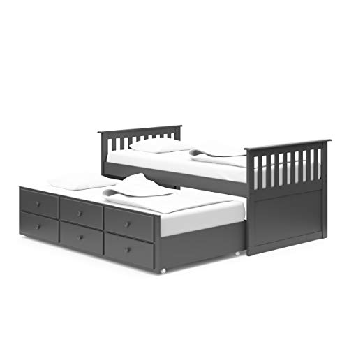 StorkCraft Marco Island Captain's Bed with Trundle and Drawers - Twin (Gray)