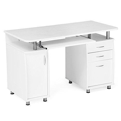SONGMICS Computertisch mit Tastaturauszug und einem Unterschrank, MDF, weiß, 121 x 60 x 76 cm