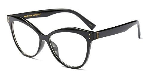occhiali lenti trasparenti donna BOZEVON Donna Moda Classico Montatura Occhiali da Vista Occhiali con Lenti Trasparenti Occhio di gatto Festa Occhiali Nero
