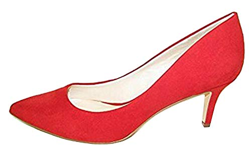 NINE WEST Elise Red Fabric Suede Pump - M - 8