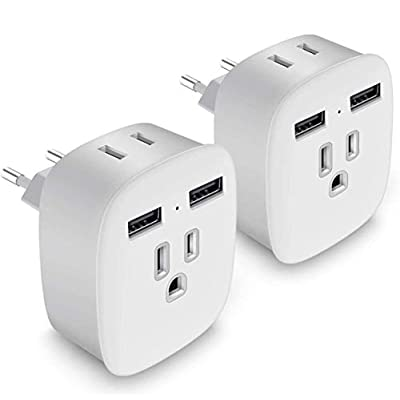 European Plug Adapter, Upgraded 4 in 1 US to Eu...