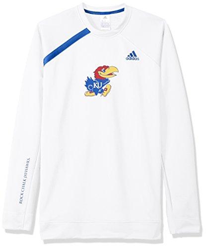 NCAA Kansas Jayhawks Mens On Court L/S Shooting Shirton Court L/S Shooting Shirt, White, XX-Large