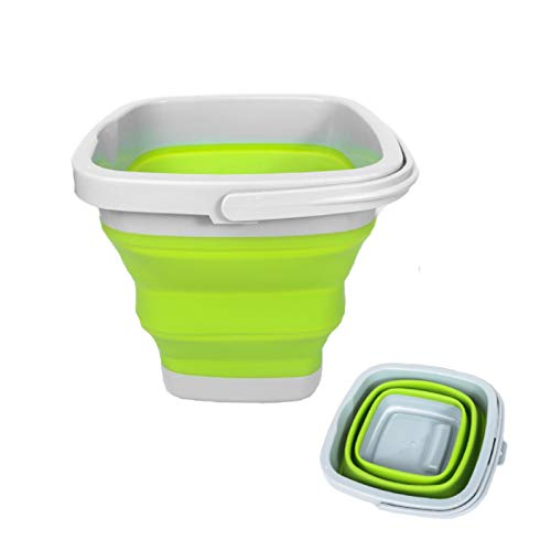 Cubo de agua plegable de 10 l, cubo cuadrado redondo de silicona de plástico para camping, pesca, viajes, lavado de coches (verde cuadrado)