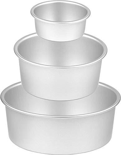 KroY PecoeD Juego de latas redondas para hornear, de aluminio, antiadherente, para hornear, con 20,3 cm, 15,2 cm y 10,16 cm, para hornear tartas de boda, cumpleaños, Navidad (3 paquetes)