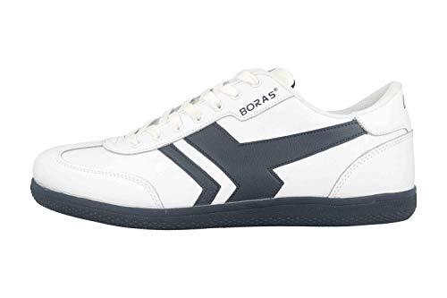 Boras SP Retro Sports Socca Sneaker sneakersy w dużych rozmiarach białe 3541-0062 duże buty męskie, biały - Bia?y Granatowy - 49 EU