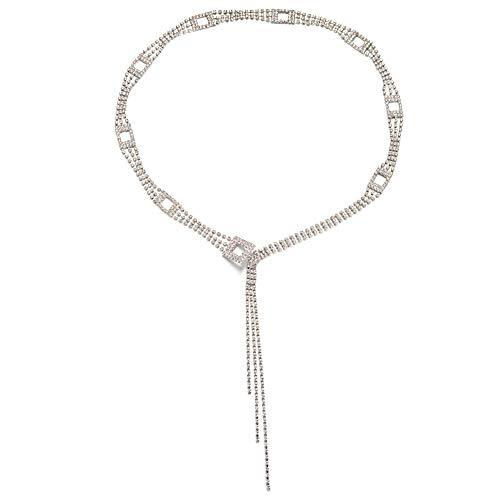 Weibliche Metallkristallbauchkette Strass-gürtel Mit 3 Drainage Drill Bikini Beach Schmuck Für Frau