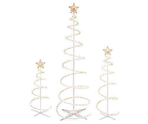 Set of 3 Lighted Spiral -Christmas- Trees - 3 Ft 4 Ft and 6 Ft - Winter Wonder Lane