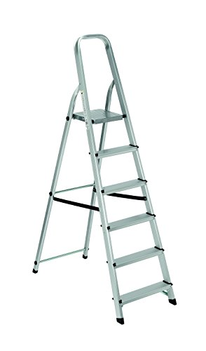 Scala alluminio Everest 6 gradini Per uso domestico e bricolage Portata max 150 kg.