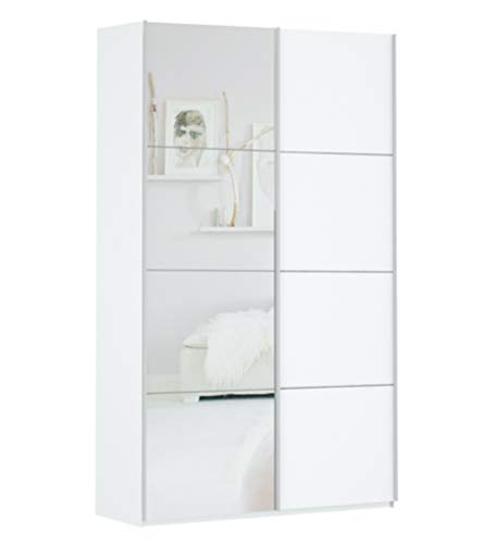 Prime 2100 Schwebetürenschrank 2 türig weiß mit Spiegel 140x210 cm Mit 1 Spiegel