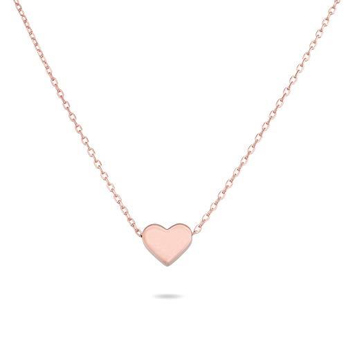 Nuoli® Kette Damen Rosegold 925 Sterling Silber (45 cm) Kette mit Herz