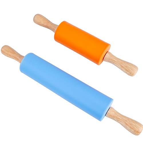Silikon-Teigroller Antihaft-Oberfläche Nudelholz Mittel- und Minigröße Holzgriff Nudelhölzer für Backen Pizza Kekse 2 Stück (Blau & Orange)