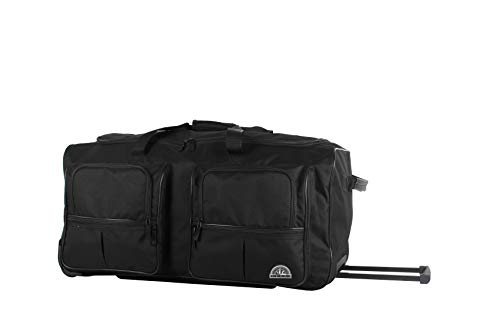 Ciao Duffel Bag Collection - Large 30 Inch Drop Bottom Luggage - Lightweight Weekender Overnight Business Sport Travel Suitcase with 2-Rolling Spinner Wheels (Black)