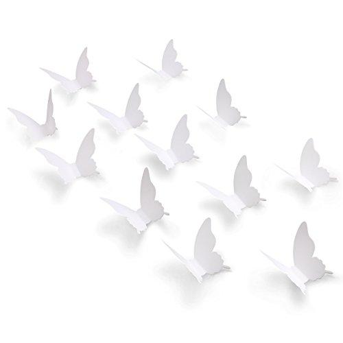 Luxbon 100er Set 3D Schmetterlinge Kinderzimmer Wandtattoo Aufkleber Abziehbilder Wand-dekor mit Klebepunkten Weiß