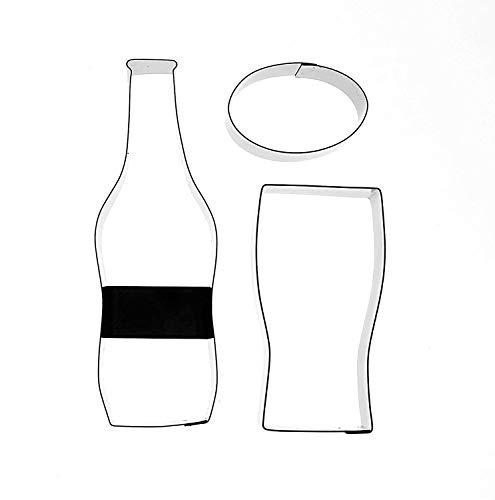 Kit Box Cutter–Juego de moldes cortadores Cerveza Botella, Cristal y Etiqueta 3–Set de moldes para, Pasteles y Tartas de celebración