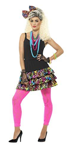 Smiffys-41567SM Kit fiesta años 80 para chica, con falda, tocado y collar Multicolor, S a M - EU Tamaño 36-42 Smiffy's 41567SM , color/modelo surtido