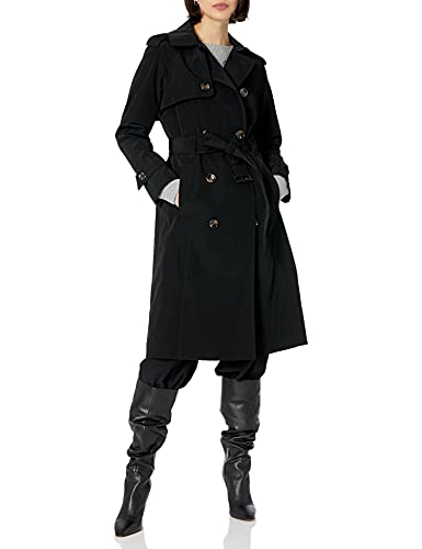 LONDON FOG Women's Double-Breasted 3/4 Length Belted Trench Coat, Black, L