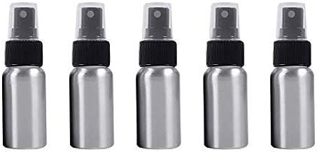 5 PCS Botella Recargable de Cristal Fina Niebla atomizadores de Aluminio, 30 ml (Negro) fácil de Llevar Botella de Spray (Color : Black)