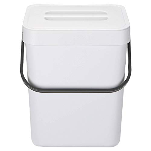 HOMWE Kitchen Compost Bin for Countertop or Under Sink Composting, 1.3 Gallon, Indoor Home Trash Can with Removable Airtight Lid, Storage Hook Hanger, White Plastic