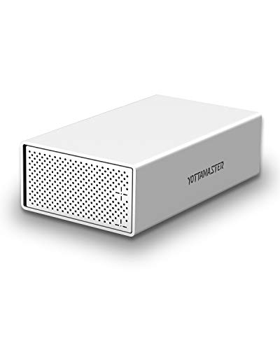 Yottamaster Aluminum Alloy 3.5' USB3.0 2 Bay External Hard Drive Enclosure for 3.5 Inch SATA HDD Support 2 x 10TB & UASP -Silver