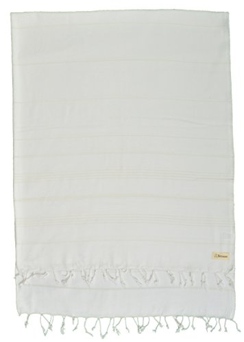 Bersuse 100% Algodón - Anatolia XXL Manta Toalla Turca - Multiusos Colcha de Cama, Funda de Sofa - Fouta para Baño y Playa - Oeko-Tex - 155 x 210 cm, Blanco (Conjunto de 3)