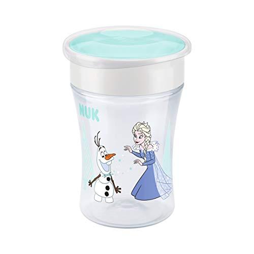 NUK Disney Frozen Magic Cup drinkbeker, drinkrand, 8 maanden, BPA-vrij, 230 ml, lekvrij, afdichtende siliconen schijf Turquoise (Frozen Elsa & Anna)