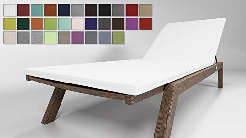 Rollmayer Sitzkissen für Sonnenliege Auflage Polster für Gartenliege Liegestuhl Strandliege Kollektion Vivid (Weiß 1, 190x54x4cm - 2er Set)