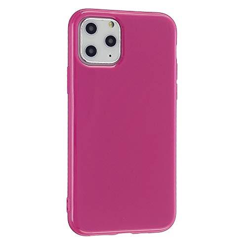 CrazyLemon Hülle für iPhone 11 Pro, Niedlich Volltonfarbe Klar Gelee Design Weich TPU Silikon Slim Dünn Handyhülle Stoßfest Schutzhülle - Rosenrot