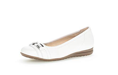 Gabor Damen Ballerinas, Frauen sportliche Ballerinas,Moderate Mehrweite (G),Ballerina-Schuhe,Ballett-Schuhe,Weiss,38 EU / 5 UK